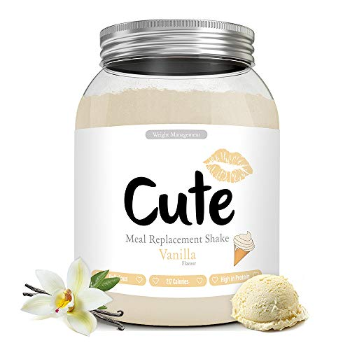 Cute Nutrition Vanilla Meal Replacement Shakes for Weight Loss Control Diet Shake for Women 500g tub with Bonus 4 Week Fat Buster Workout Plan