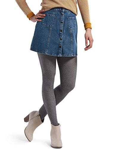 HUE Women's Fashion Sweater Tights with Non Control Top, Assorted, Charcoal HEATHER - Brushed, M/L