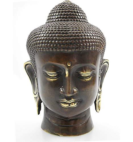 Artisanal Cabeza de Buda de bronce H20 cm. Decoración/