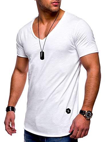 Rello & Reese Herren T-Shirt Kurzarm Basic Oversize V-Neck MT-7102 [Weiß, XXL]