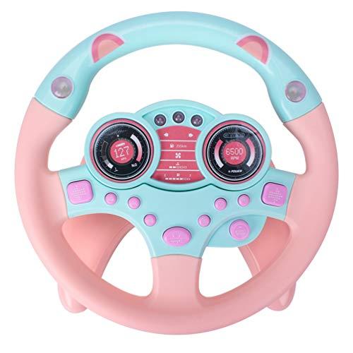 Kisangel Volante de Juguete de Conducción Simulada Volante Juguete Educativo Temprano para Niños Pequeños Juguete de Bebé Regalos (Rosa)