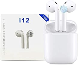 i12 TWS Portable Earphone with 300 mAh Charging Case True Wireless Earbuds with Sensor Calling Waterproof Bluetooth v5 0 for Sports Gyming Noise Cancellation Headset White