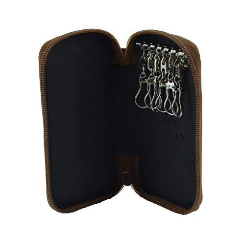GreSel Schlüsseltasche Schlüsseletui Aus Echtem Leder Mit Reißverschluss, Made In Italy, Für Herren und Damen
