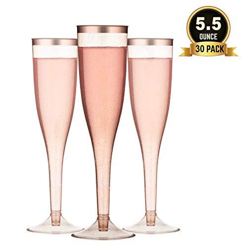 TOROTON 30 Flute di Champagne in Plastica Trasparente, 162ml Riutilizzabile e Riciclabile Bicchieri di Vino, per Catering, Feste, Matrimonio - Oro Ros