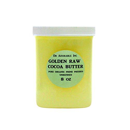 GOLDEN COCOA BUTTER ORGANIC RAW Grade A PRIME PRESSED UNREFINED 8 OZ