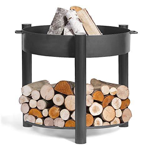 BlackOrange - Recipiente para hoguera (diámetro 60 cm, altura 80 cm, con bandeja de madera)