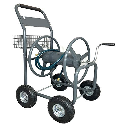 Ashman Garden Hose Reel Cart - 4 Wheels Portable Garden Hose Reel Cart with Storage Basket Rust Resistant Heavy Duty Water Hose Holder