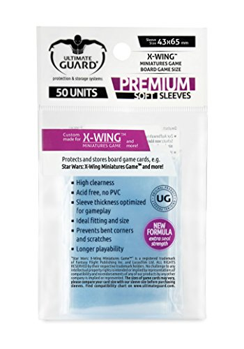Ultimate Guard UGD010476 - Premium Soft Sleeves für Brettspielkarten X-Wing TM Miniatures Game 50, transparent