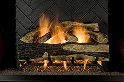 "Sure Heat SH24DBRNL-60 Vented Gas Fireplace Logs, 24"", Charred Hickory"