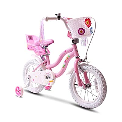 "COEWSKE Kid's Bike Steel Frame Children Bicycle Little Princess Style 14-16 Inch with Training Wheel(14"" Pink)"