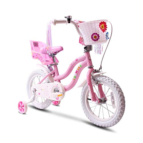 COEWSKE Kid's Bike Steel Frame Children Bicycle Little Princess Style 14-16 Inch with Training Wheel (Pink, 12 Inch)