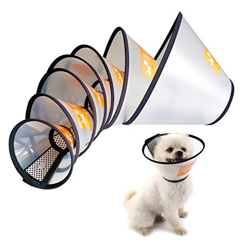 Care 4U Dog Cone Collar Soft, Cat Cone Collar for After Surgery Anti-Bite Lick,Elizabethan Collar for Large Dogs Medium Dogs Small Dogs,Translucent...