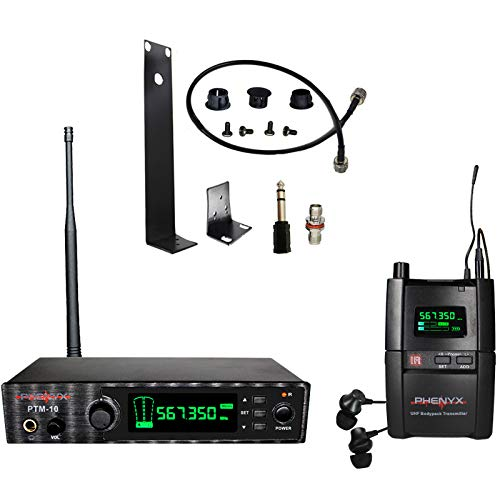 Phenyx Pro UHF Stereo Wireless in Ear Audio Monitor System, Selectable...