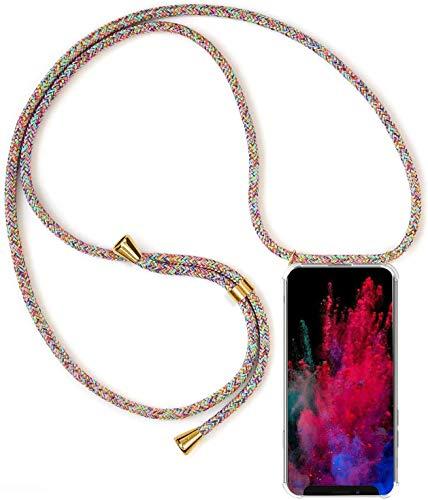 Mi-Case Funda con Cuerda para Xiaomi Mi MAX 3, Carcasa Transparente TPU Suave Silicona Correa Colgante Ajustable Collar Correa de Cuello Cadena Cordón - Arco Iris