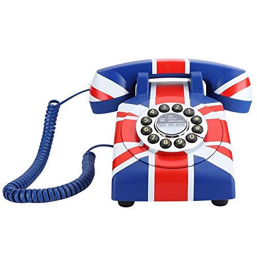WX-3510# Portátil Azul Rojo Botones Dial Plate Innovador teléfono, ABS Teléfono de Escritorio para el hogar Teléfono Fijo, Reducción de Ruido de Llamadas.(Nos)