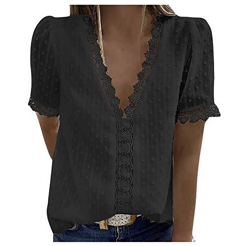 YANFANG Blusas de Mujer Elegantes,Camiseta Casual de Manga Corta con Encaje de Moda para Mujer Top de Color sólido con...