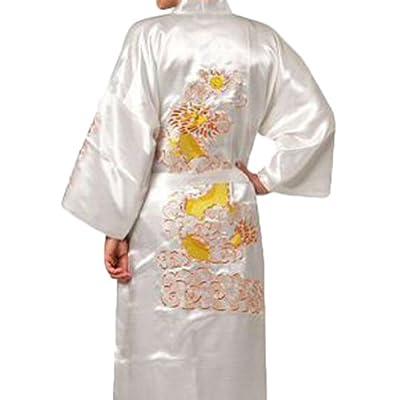 Chinese Men's Silk Satin Embroider Kimono Robe Gown Dragon