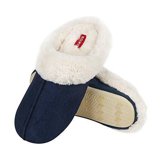 soxo Herren Warme Hausschuhe | Männer Winter Plüsch Pantoffel | Plüschige Innenfutter | 2 Farben (44 EU, Navy)