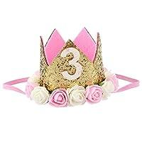 RETYLY 花ヘッドバンドプリンセス王冠誕生日花冠ヘッドドレス ベビーシャワー子供誕生日パーティー用品スタイル3