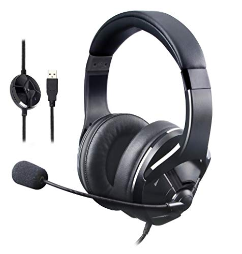 AmazonBasics USB Gaming Headset with Microphone for PC, Black