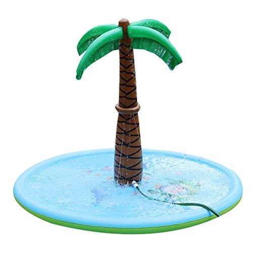 ZDJ Wasser besprüht Kokosnussbaum, Sprinkle Wasserspiel-Matten-Sommer-Spielzeug-Spray für Kinder und Outdoor-Garten Aktivitäten in der Familie