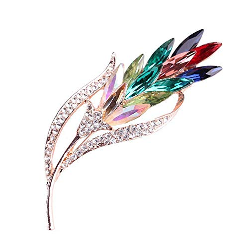 Broche Joyería de moda europea y americana Decoración de flores de cristal de hoja popular (Y)