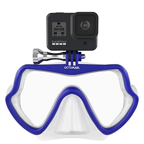OCTOMASK - Frameless Dive Mask w/Mount for All GoPro Hero Cameras for Scuba Diving, Snorkeling, Freediving (Blue)