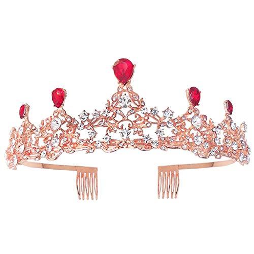 niumanery Red Baroque Royal Queen Gold Wedding Crown Crystal Princess Tiara Headbands
