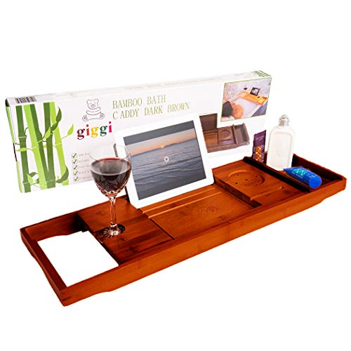 Giggi Bath Caddy, Bamboo Bath Caddy Walnut | Bath Board | Bath Shelf, Wine Glass Holder, (Bath Tray with ipad Holder, Over bath tray) Bath Tray Shelf Bathtub Caddy, Bath Accessories FREE Soap Dish