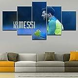 Angel&H Segeltuch Druckt Gemälde Modern Fußballspieler Lionel Messi Poster Sport Wandkunst 5 Stücke zum Zuhause Wohnzimmer Schlafzimmer Dekorativ,A,30x40x2+30x80x1+30x60x2