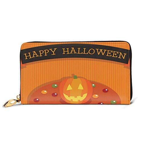 BGHYT Halloween Kuchen Vektor Bild Leder Reißverschluss Clutch Bag Wallet Große Kapazität Lange Geldbörse Für Frauen Personalisiert