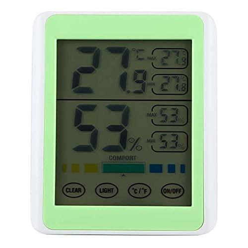 Yuyanshop eecoo Termómetro de humedad, pantalla táctil de interior, pantalla digital eléctrica, termómetro medidor de humedad, monitor blanco+verde