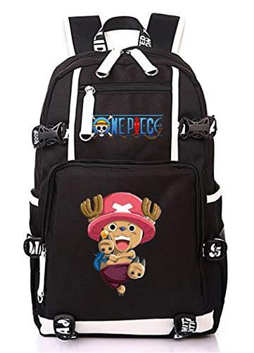WANHONGYUE One Piece Tony Tony Chopper Anime Backpack Mochila Escolar Estudiante Bolso de Escuela Mochila para Portátil Negro-12