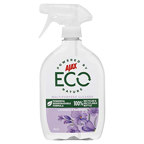 Ajax Eco Multipurpose Cleaner Powerful Biodegradable Formula Lavender & Rosemary Trigger Surface Spray Made in Australia 100% Recycled Bottle 450mL