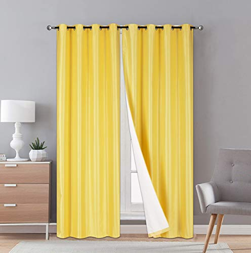 """Faux Silk Room Darkening Curtains - 2-Panel Sets of 54x108 Room Darkening Light Filtering Curtains for Bedroom - Durable Thermal Insulated,Sun and Sound Blocking Dark Window Curtain,1PS, 108"""",Yellow"""