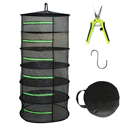 HYDGOOHO 6 Layer 2ft Herb Drying Rack Net Dryer Black Mesh with Green Zippers Hydroponics (6Tier-D24xH47.6inch with Pruning Shear)