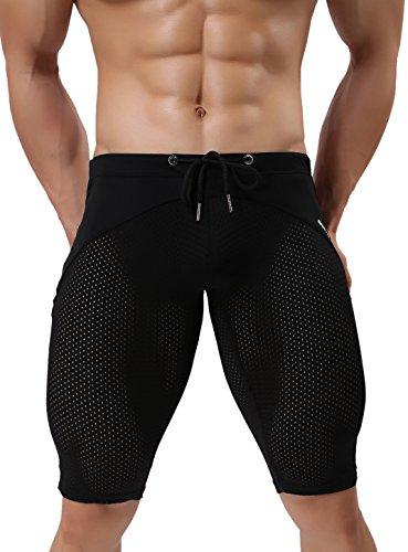 BRAVE PERSON Men's Fashion Breathable Mesh Elastic Training Shorts Swim Trunks Beach Pants 2240 (XL / 33-38, Black)