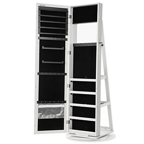 SONGMICS 360° Swivel Jewelry Cabinet, High Full Length Mirror, Lockable Jewelry Armoire, with Built-in Small Mirror, Rear Storage Shelves, White UJJC62WT