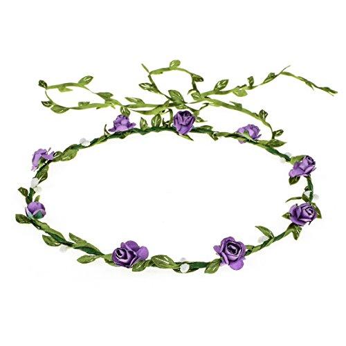 Vividsun Girls Flower Crown Wreath Headband Garland Headbands Photography Prop (purple)