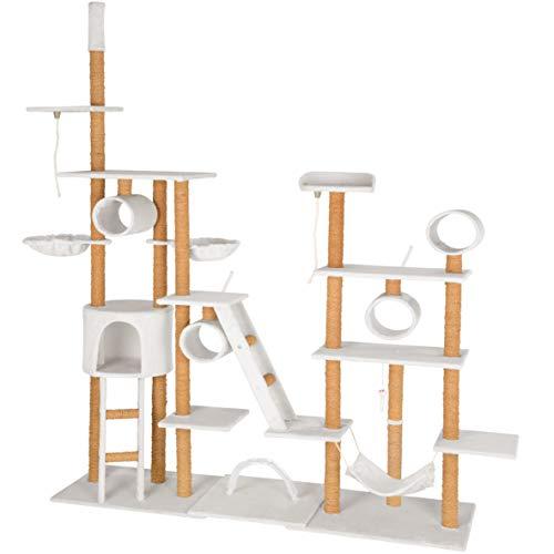 TecTake Katzen Kratzbaum Katzenbaum XXL | 2 Spielseile | 4 Röhren | 2 Treppen | 2 Liegemulden | Deckenhoch (Weiß | Nr. 402744)