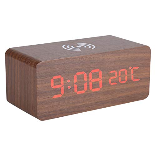 Germerse Despertador, Control de Voz Despertador LED Universal Multifunción, Mesa Digital Silenciosa para Escritorio(Dark Brown Red Letter)
