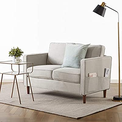 Mellow Modern Linen Fabric Loveseat/Sofa/Couch with Armrest Pockets,