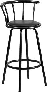 Flash Furniture Crown Back Black Metal Barstool with Black Vinyl Swivel Seat