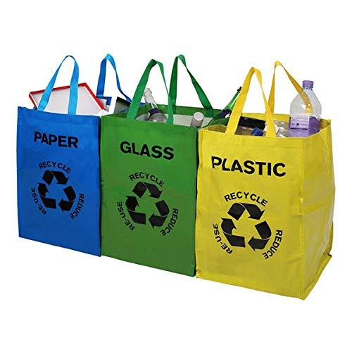 Tooltime - Confezione da 3 sacchetti per riciclaggio in plastica, carta e vetro
