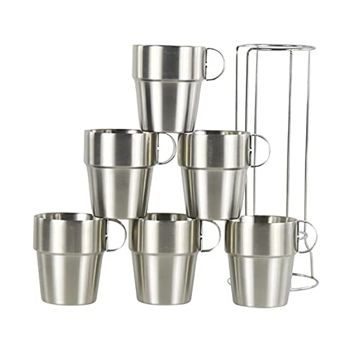 SUNTIRC Tazas de café de acero inoxidable, apilables de doble pared aislada, libre de sudor y condensación | bebidas calientes o frías, soporte de metal (300 ml) (6 unidades)
