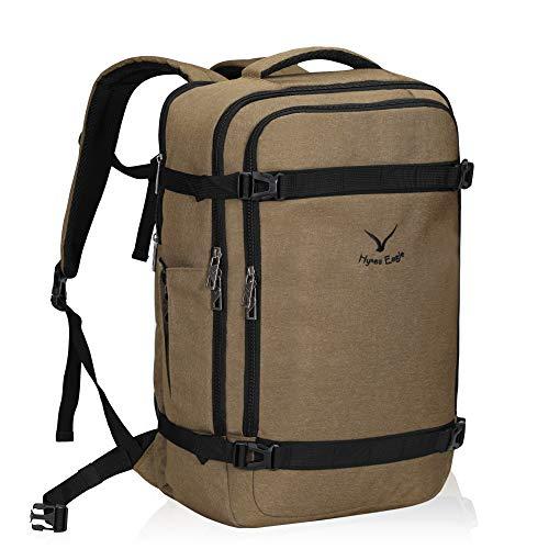 Hynes Eagle 44L Travel Backpack Airline Approved Carry on Backpack Weekender Bag for Women Men, Brown