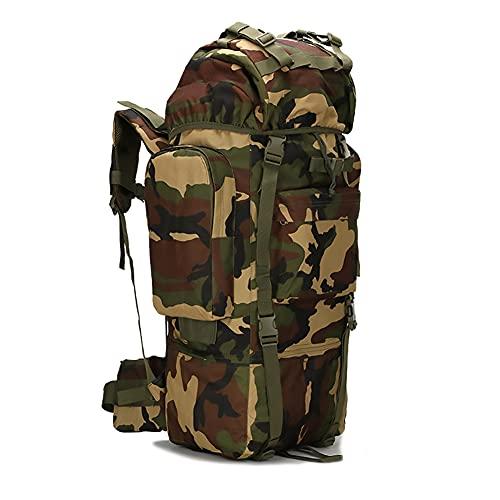 Wanderrucksack 65L Rucksack Camouflage,Campingrucksäcke,Überlebensset Outdoor,Rucksack Wasserdichtes Klettern Wandern Camouflage Rucksack Große Kapazität Camping Bergsteigen Rucksack,Jungle camouflage