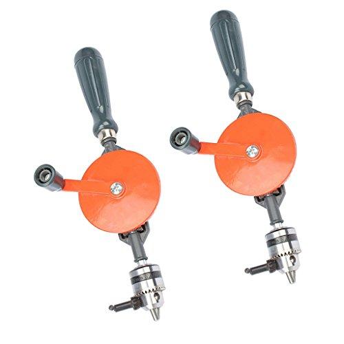 Baoblaze 2x Handbohrer Doppelritzel 1/4 Zoll 3/8 Zoll Spannfutter Passend Für 0,6 10 Mm Bohrer Komplizierte Bohrkurbel