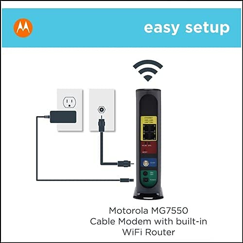 Motorola MG7550 Modem WiFi Router Combo with Power Boost   Approved by Comcast Xfinity, Cox, Charter Spectrum, More   for Cable Plans Up to 300 Mbps   AC1900 WiFi Speed   16x4 DOCSIS 3.0