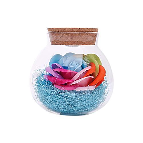 Andouy Blumenduftend Seifen Rose Badeseife mit LED-Licht Gehobenes Geschenk zum Geburtstag, Jubiläum, Valentinstag, Erntedankfest(10x11cm.Hellblau)